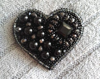 Black heart brooch, seed bead brooch, embroidery brooch, fancy brooch, hand embroidered, gift for her,