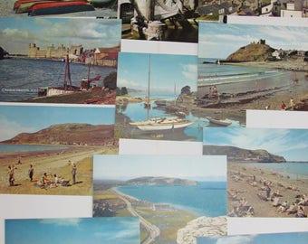 20 antique vintage postcards - caernarvonshire - blank unused 1950's welsh views