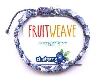 BLUEBERRY TWIST BRACELET, Guatemalan Bracelets, Handmade bracelets, colorful bracelets, fruit based, fruit weave, friendship bracelets.