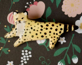 Polymer clay pin - panther pin - leopard pin - clay pin - handmade brooch