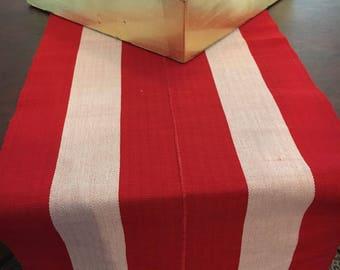 Red White Stripe Table Runner