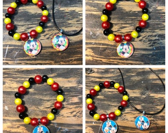 Mickey Mouse party favors.Mickey Mouse clubhouse party favors.Mickey Mouse pendant necklace.Mickey Mouse bead bracelets.Mickey Mouse jewelry