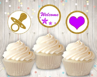 Baby Shower Cupcake Topper Set 1, Printable Cupcake Topper, Purple and Gold, Gender Neutral