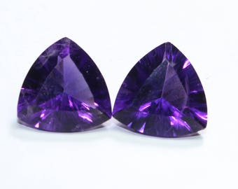 AAA Natural African Purple Amethyst Concave Cut Trillion 11 MM Faceted 2 PCs Fine Quality Purple Color CODE AR15