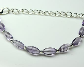 """Natural Amethyst Nugget Rice Bracelet, 4"""" Inches Bracelet, Gemstone Size - 4x7 To 5x10, Amethyst Nugget Bracelet."""