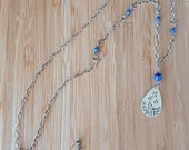 Floral Teardrop Necklace - Sterling Silver and Denim Lapis Lazuli