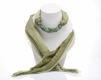 Olive Green Scarf Decorated With Green Jade / Women Scarves / Autumn Fashion Scarves/ Women's Gift Ideas / Handmade Accessories