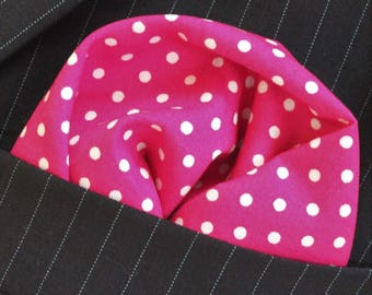 Hankie Pocket Square Handkerchief PINK / WHITE Polka Dot Premium Cotton UK Made