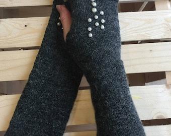 Grey fingerless gloves - Wool Fingerless gloves - Arm warmers - Womens Fingerless - Long Fingerless Mittens - Wrist warmers - Hand warmers