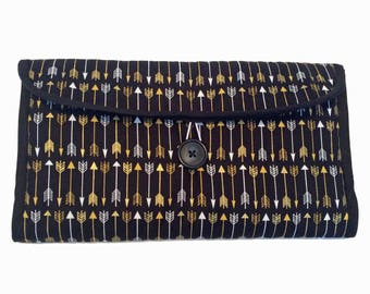Travel Changing Pad Clutch - Black & Gold
