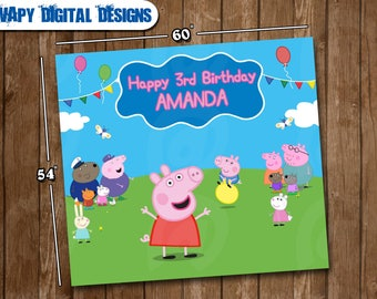 Peppa Pig Digital Poster Banner Party customize  birthday