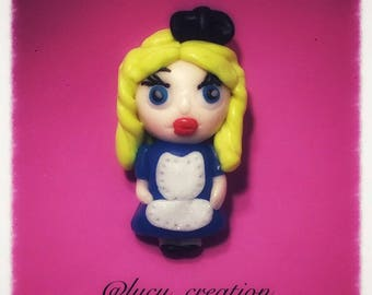 Polymer clay Alice in Wonderland magnet