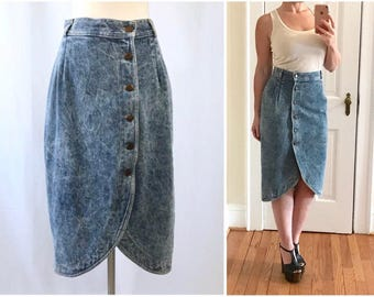Cotton Denim High Waist Skirt || Acid Wash Denim || 1980s Denim Skirt || Vintage Denim || Jean Skirt || Vintage Clothing