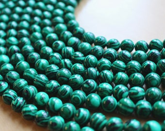8mm Malachite beads, full strand, natural stone beads, round, 80019