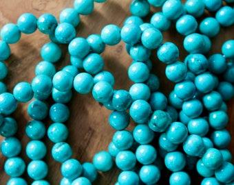 6mm Hubei Turquoise beads, full strand, natural stone beads, round, 60099