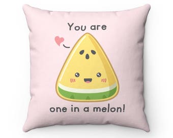 I Draw Foodles Square Throw Pillow - One In A Melon
