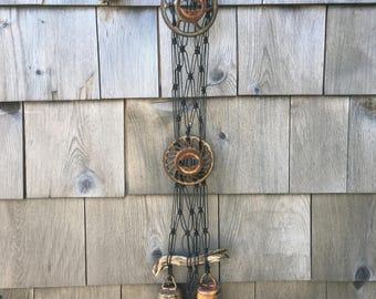 industrial wind chime with vintage metal pieces