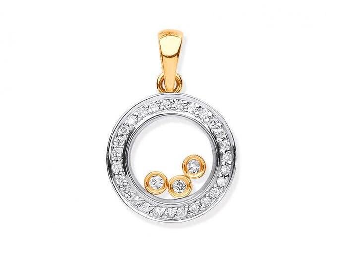 9ct Yellow Gold 0.12ct Floating Trilogy Diamond Circle Pendant