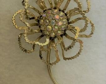 Brooch Sarah Coventry - Flower on Stem Aurora Borealis Rhinestones 1950's