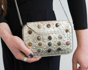 Silver Handbag, Glamorous Clutch Bag, Prom Handbag, Metallic Bag, Evening Bag, Cross Body Bag, Unique Ethnic Clutch Bag, Black Dress Handbag