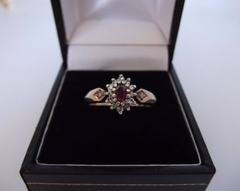 9ct Gold Ruby And Diamond Cluster Ring Size M 1/2 - US 6.5