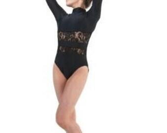 Eden Dancewear Girls Black Lace Leotard