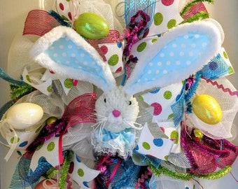 Easter Wreathe, Easter Bunny Wreath, Spring Wreaths, Easter Decoration, Front Door Wreaths, Whimsical Easter Wreath, Bunny Wreath