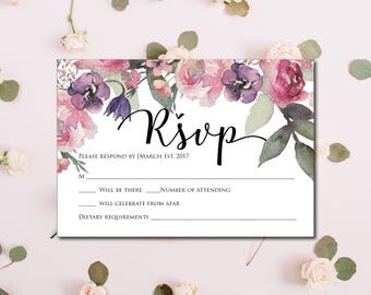Pink Purple Wedding RSVP Template, RSVP Template,  Wedding RSVP , Editable Wedding Rsvp, Instant Download, Printable