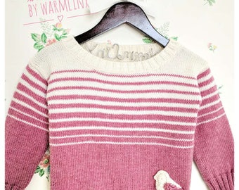 Ready to Ship - Gradient Stripe with Bird Long Sleeve Girl Sweater(3T)/ready to ship
