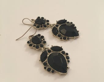 Black and silver vintage dangle earrings