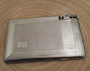 1940's Mosda vintage silver plated cigarette case and lighter