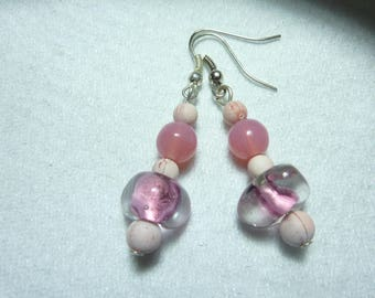"""candy pink"" Crystal Silver earrings"