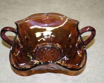 Vintage Amethyst Carnival Glass Bon Bon Bowl