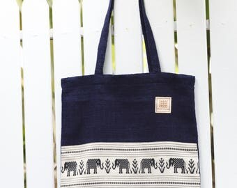 Natural indigo dyed hand woven cotton tote bag