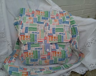 Handmade bag Messenger travellers postal handbag airmail stamps. Blue and green.