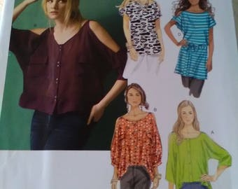 Butterick 5889 new sewing pattern. Top tunic belt cold shoulder. Sizes 4-14