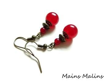 Red currant jade earrings