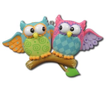 Owl Couple Personalized Christmas Ornaments
