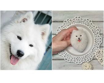 Samoyed dog miniature wool brooch