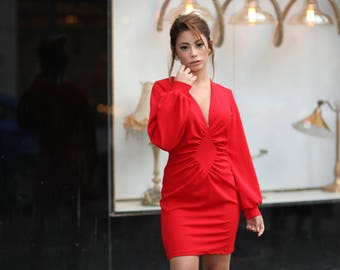 Red Ruched Front Dress Design, Blouson sleeves , Mini Dress With Long Sleeves, Women's Evening Dress