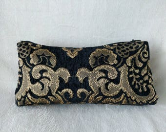 Gold and Black Cosmetic Bag