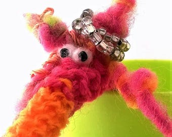 Cute handmade knitted pink and orange fingerpuppet, Amigurumi, Unique gift, Beautiful puppet, Knitted puppet, Gift for her, Beautiful puppet