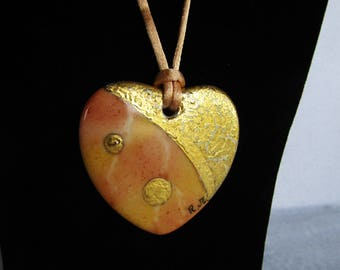 Heart of peach and gold porcelain