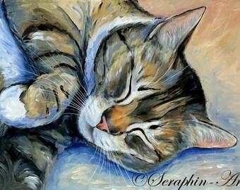 Sleeping Cat Original Acrylic Painting
