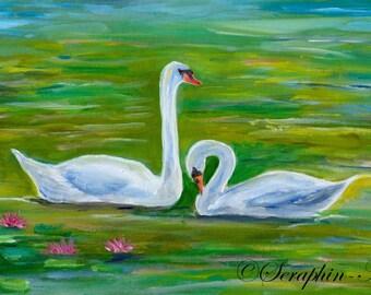 Swans Original Acrylic Painting