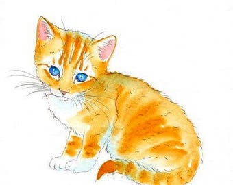 Blue Eyed Ginger Kitten Original Watercolor Painting