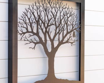 Tree Silhouette Metal Hanging Wall Art Sign Laser Cut Indoor Outdoor Home Decor Den Living Room Nature Owl family