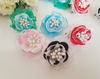 Flower hair clips,Floral Accessories,hair clips,gift,Girl Hair Clips,flower headpiece,flower girl gift,hair accessories,blossom headpiece