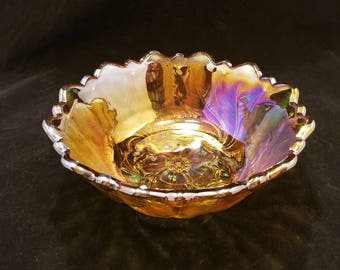 Vintage Iridescent Marigold Carnival Glass Footed Bowl in Wild Rose Pattern by Indiana Glass