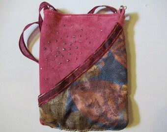 Deep Rose Pink Crossbody Bag -Upcycled Handmade 100% Leather